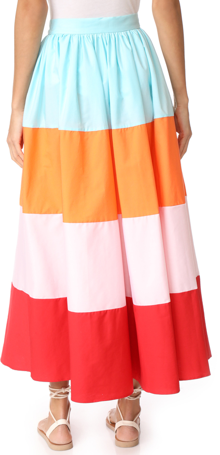 MDS Stripes Colorblock Button Front Skirt 2