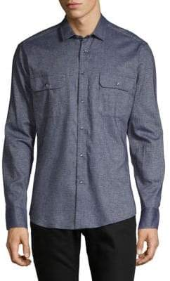 Vince Camuto Textured Flannel Button-Down Shirt