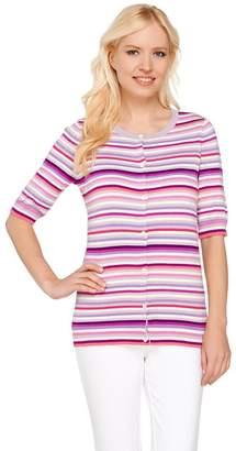 Liz Claiborne New York Elbow Sleeve Striped Cardigan