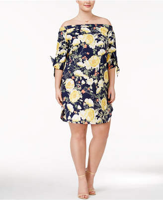 Soprano Trendy Plus Size Off-The-Shoulder Shift Dress $59 thestylecure.com