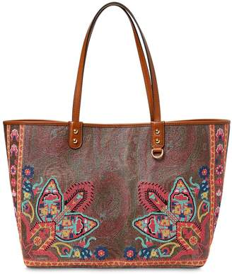 Etro Printed Leather Tote Bag
