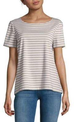 Lafayette 148 New York Striped Cotton-Blend Top