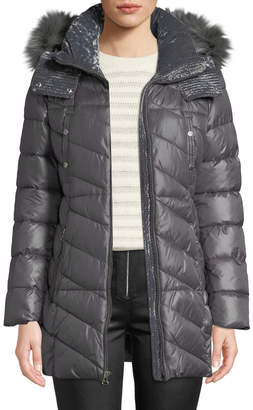Andrew Marc Shirley Velvet-Trim Quilted Parka Coat with Faux-Fur Hood