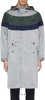 Kolor Retractable hood colourblock coat