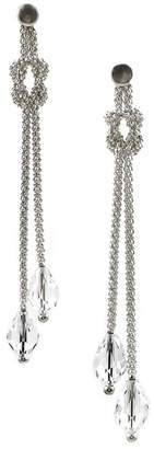 Savvy Cie Love Knot 18K Over Silver Crystal Earrings