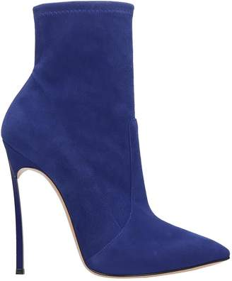 Casadei High Heels Ankle Boots In Blue Suede