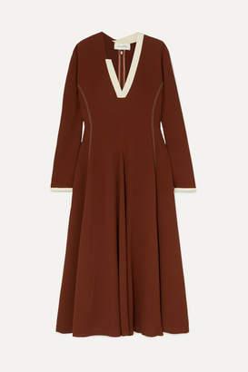Wales Bonner Crepe Midi Dress - Brown