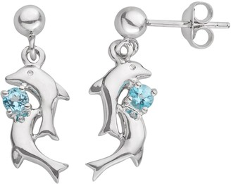 Jewelry For Trees Jewelry for Trees Platinum Over Silver Blue Cubic Zirconia Dolphin Stud Earrings