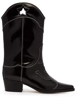 Ganni Marlyn Western Leather Boots - Womens - Black