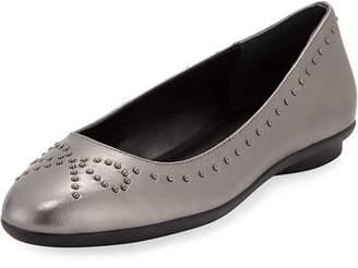 Donald J Pliner Markie Bow-Studded Metallic Leather Ballet Flats