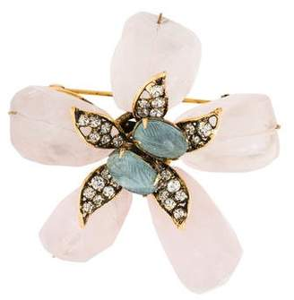 Iradj Moini Aquamarine, Rose Quartz & Crystal Floral Brooch