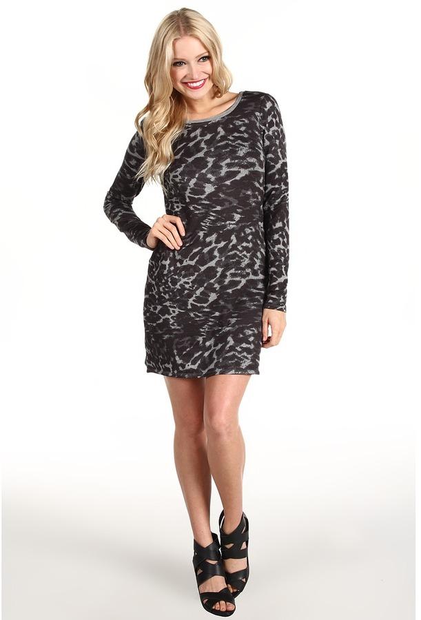 Kensie Animal Print Mini Dress (Heather Grey Combo) - Apparel