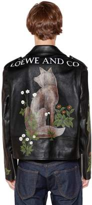 Loewe Oversized Painted Leather Biker Jacket