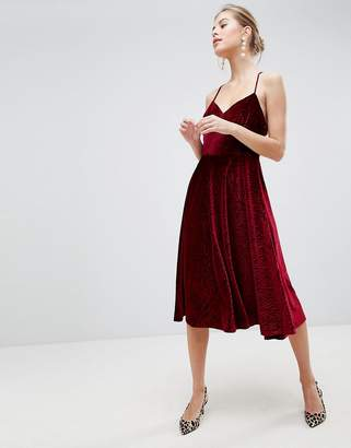 Traffic People Velvet Skater Dress With Strappy Back