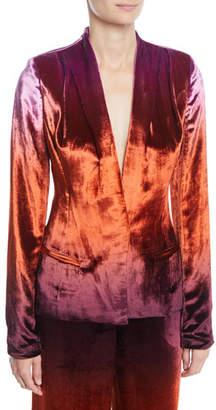 Cushnie et Ochs Shawl-Collar Fitted Degrade Velvet Jacket