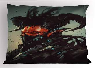 Fantasy Pillow Sham Unusual Sinister Robotic Demon Character Futuristic Computer-Generated Cyber Print, Decorative Standard Queen Size Printed Pillowcase, 30 X 20 Inches, Black Red, by Ambesonne