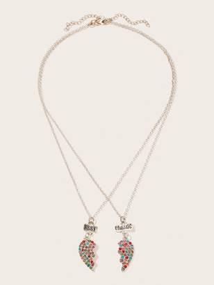 f748905ff9 Shein Rhinestone Engraved Half Heart Necklace 2pack