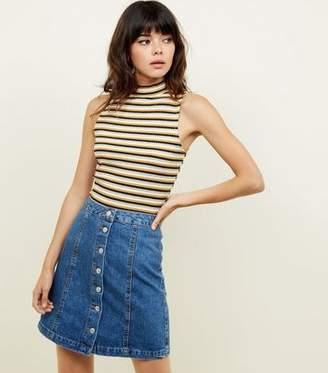 New Look Tall Blue Button Front Denim Mini Skirt