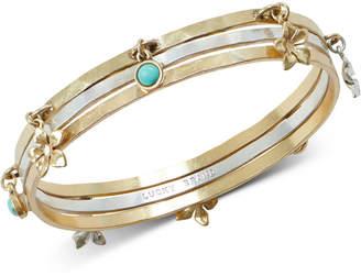Lucky Brand Two-Tone 3-Pc. Set Stone & Flower Bangle Bracelets