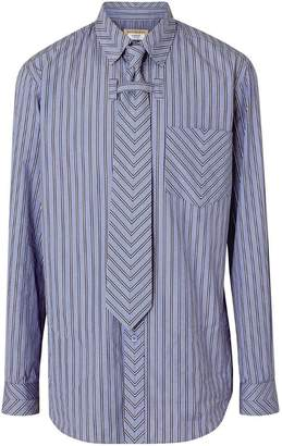Burberry Chevron Striped Cotton Shirt and Tie Twinset