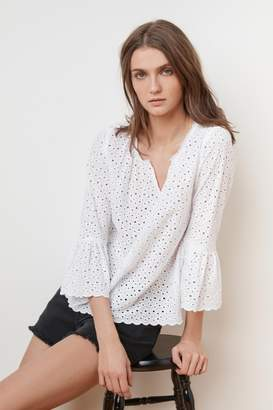 Velvet by Graham & Spencer SAIDEE COTTON EYELET BELL SLEEVE TOP