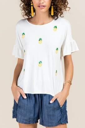 francesca's Briony Sequin Pineapple Top - White