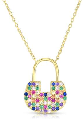 Sphera Milano 18K Yellow Gold Vermeil Pave CZ Lock Pendant Necklace