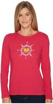 Life is Good Heart Compass Long Sleeve Crusher Tee Women's Long Sleeve Pullover