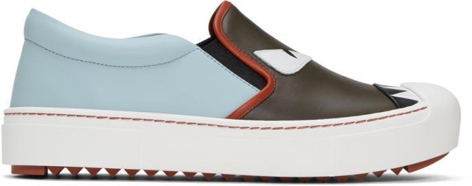 Fendi Grey and Blue Bag Bugs Slip-On Sneakers