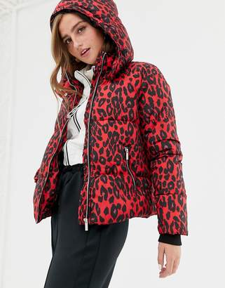 New Look puffer jacket in leopard print
