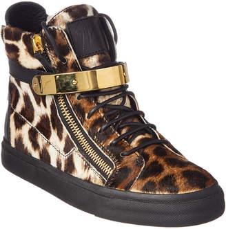 Giuseppe Zanotti Leopard Haircalf High-Top Sneaker