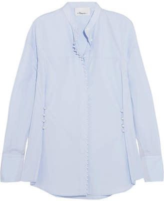 3.1 Phillip Lim - Faux Pearl-embellished Cotton-poplin Shirt - Blue $425 thestylecure.com