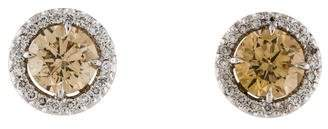 Platinum Diamond Halo Stud Earrings