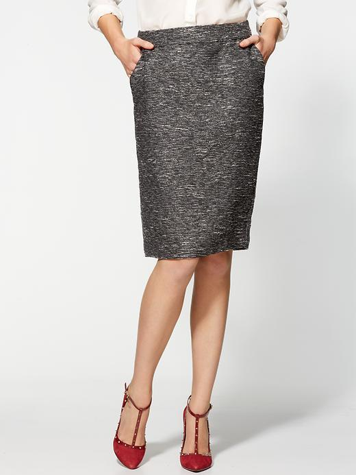 Pim + Larkin Metallic Tweed Pencil Skirt