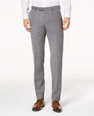 HUGO BOSS HUGO Men's Modern-Fit Light Gray Patterned Suit Pants