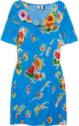 Topshop Floral-print Silk Crepe De Chine Mini Dress - Blue
