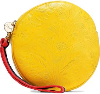 Clare Vivier Circle Embossed Leather Clutch