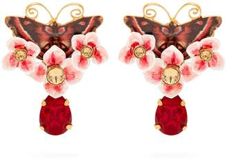 Dolce & Gabbana Butterfly and crystal drop earrings
