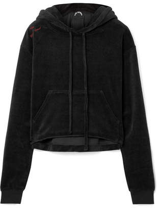 The Upside Hoya Cropped Cotton-blend Velour Hoodie - Black