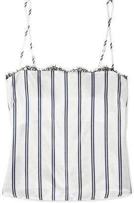 Fleur Du Mal Striped Lace-trimmed Silk-charmeuse Camisole