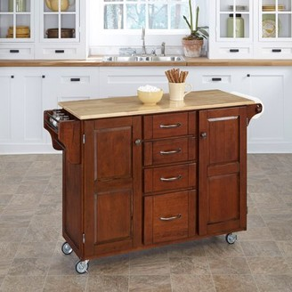 Home Styles Create-a-Kitchen Cart, Cherry with Wood Top