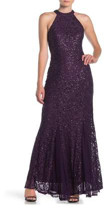 Marina Sequin Lace & Tulle Halter Mermaid Gown