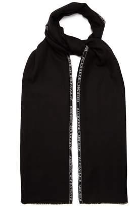 Alexander McQueen Logo-jacquard cashmere-blend scarf