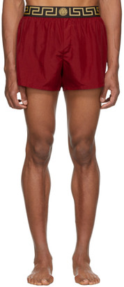 Versace Underwear Red Greek Key Border Swim Shorts