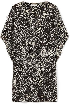 Saint Laurent Lace-up Leopard-print Crepe De Chine Mini Dress - Black