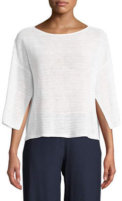 Eileen Fisher Organic Linen Handkerchief-Sleeve Top, Petite