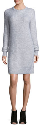 MICHAEL Michael Kors Wool-Blend Crewneck Sweater Dress, Pearl Heather $195 thestylecure.com