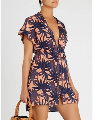 Vix Palm-pattern woven dress