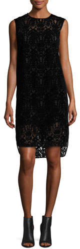 DKNY DKNY Sleeveless Lace Shift Dress, Black