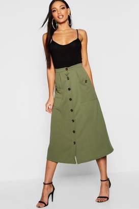 boohoo Woven Horn Button Midi Skirt